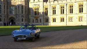 News video: Prince Harry and Meghan depart Windsor Castle in sports car