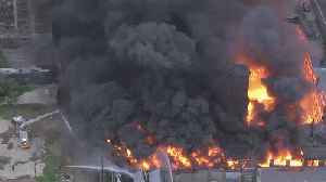 News video: Crews Continue Battling Raging Warehouse Fire In North Philly