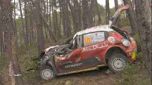 News video: Dramatic crash for Meeke as Neuville leads Portugal Rally