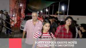 News video: Boney Kapoor Enjoys Movie Outing With Daughters