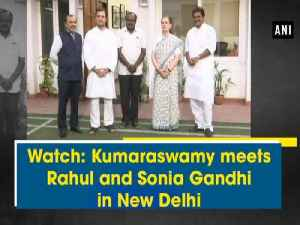 News video: Watch: Kumaraswamy meets Rahul and Sonia Gandhi in New Delhi
