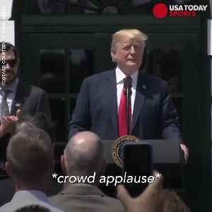 News video: Donald Trump trolls national anthem protests at NASCAR champion WH visit