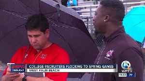 News video: College recruiters checking out Spring Football