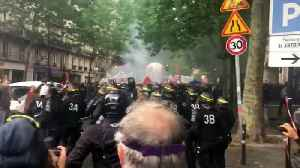 News video: French public service workers clash with police