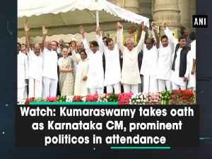 News video: Watch: Kumaraswamy takes oath as Karnataka CM, prominent politicos in attendance