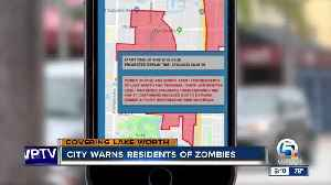 News video: City of Lake Worth warns residents of power outage AND zombies