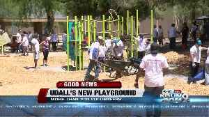 News video: More than 200 volunteers are building a new playground at Udall Park