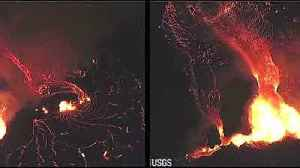 News video: Dramatic footage from Hawaii shows lava streaming towards ocean