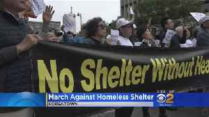 News video: Hundreds Block Traffic To Protest Koreatown Homeless Shelter