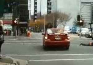 News video: Pedestrian Goes Airborne After Colliding With Car in Melbourne's CBD