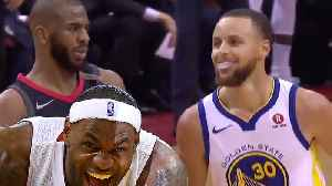 News video: Lebron James Has An EPIC Reaction To Chris Paul Dancing All Over Steph Curry