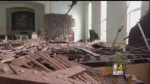 News video: 'It's A Disaster In There': Ceiling Collapses In Church