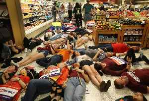 News video: Publix suspends political donations after Parkland students stage 'die-in' protests at supermarkets