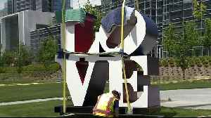 News video: Robert Indiana`s LOVE Sculpture Installed in Downtown Milwaukee