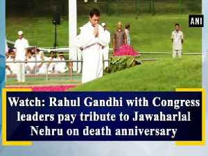 Watch: Rahul Gandhi with Congress leaders pay tribute to Jawaharlal Nehru on death anniversary [Video]