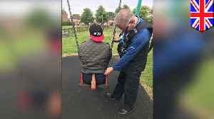 Man stuck on child's swing for three hours calls police for help [Video]