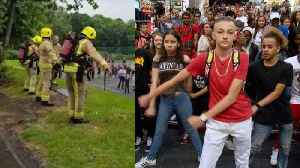 News video: Firefighters Entertain Kids With 'Backpack Kid' Dance During Fire Drill