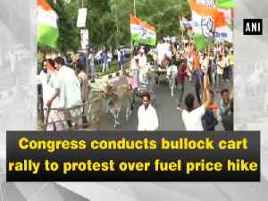 Congress conducts bullock cart rally to protest over fuel price hike