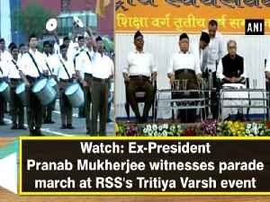 Watch: Ex-President Pranab Mukherjee witnesses parade march at RSS's Tritiya Varsh event [Video]
