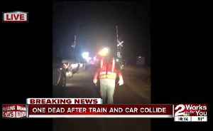 News video: One dead after car collides with train