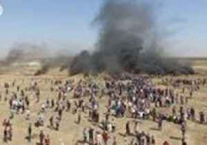 Drone Video Shows Burning Tires as Protesters Gather at Gaza Borders