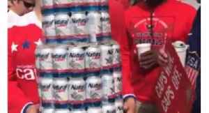 Washington Caps Fan Flaunts Stanley Cup Made of Beer Cans and Colander