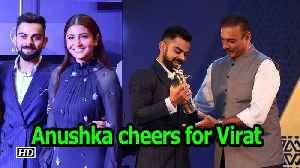 Anushka cheers as Virat receives Cricketer of the year award [Video]