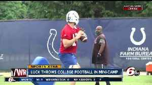 Andrew Luck throws a football for the first time since October at Colts' minicap