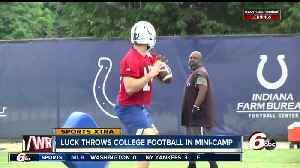 Andrew Luck throws a football for the first time since October at Colts' minicap [Video]