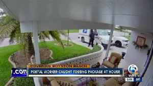 News video: Security camera catches postal worker throwing package