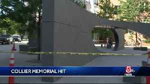 Car crashes into, damages monument for slain MIT officer [Video]