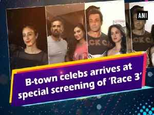 News video: B-town celebs arrives at special screening of 'Race 3'