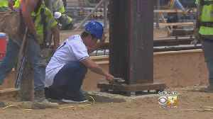 News video: First Steel Goes Up In Construction Of New Rangers Ballpark