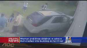News video: Car With Woman, Three Children Crashes Into Fall River Building
