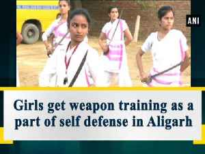 News video: Girls get weapon training as a part of self defense in Aligarh