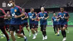 News video: Spain train at team base for last time before Iran match