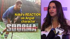 "News video: Wife Neha Dhupia's REACTION on husband Angad Bedi's ""Soorma"""