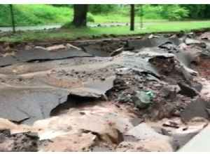 Flash Flooding Destroys Roads in Houghton, Michigan