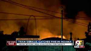 Train carrying propane derails, catches fire in small Indiana city [Video]
