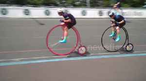 News video: Cyclist beats 127-year-old penny farthing record