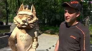 News video: World Cup inspired statues carved out of wood in Russian town