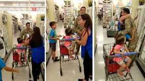 News video: Unexpected hero in bagging area: Sister stunned to tears as soldier brother surprises her at supermarket after a year away