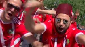 News video: A sea of red as Portugal and Morocco fans arrive at stadium