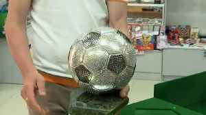 Saransk shop offers crystal-encrusted World Cup soccer ball souvenirs
