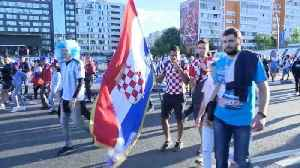 Argentina and Croatia fans in full voice en route to World Cup match