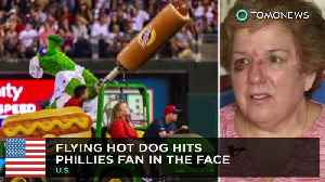 Phillies fan struck in the face with a flying hot dog