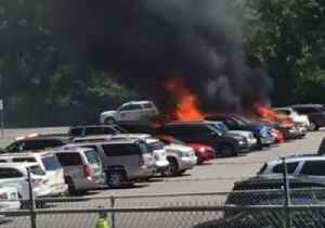Cars Go Up in Flames in North Carolina Amusement Park's Parking Lot