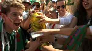 Mexican and South Korean fans party in Rostov-on-Don ahead of World Cup match