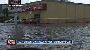 Debris backup causes short, localized flooding outside businesses in St. Pete
