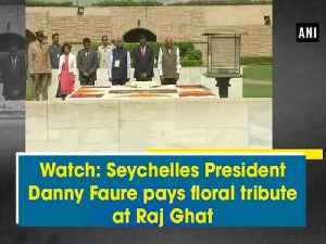 Watch: Seychelles President Danny Faure pays floral tribute at Raj Ghat